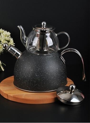 Bayev Granit Düdüklü Cam Çaydanlık-200601 Siyah